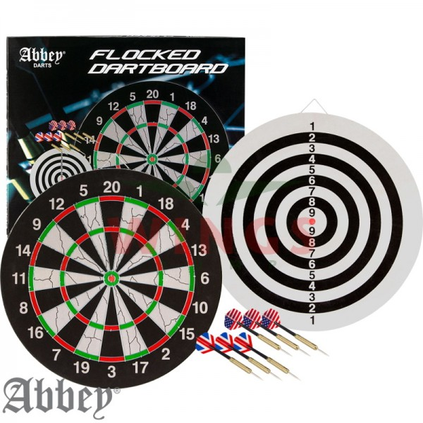 Abbey dartbord flocked met 6 darts