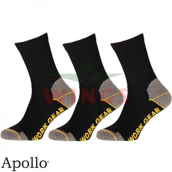 Werksok Apollo zwart 3 paar