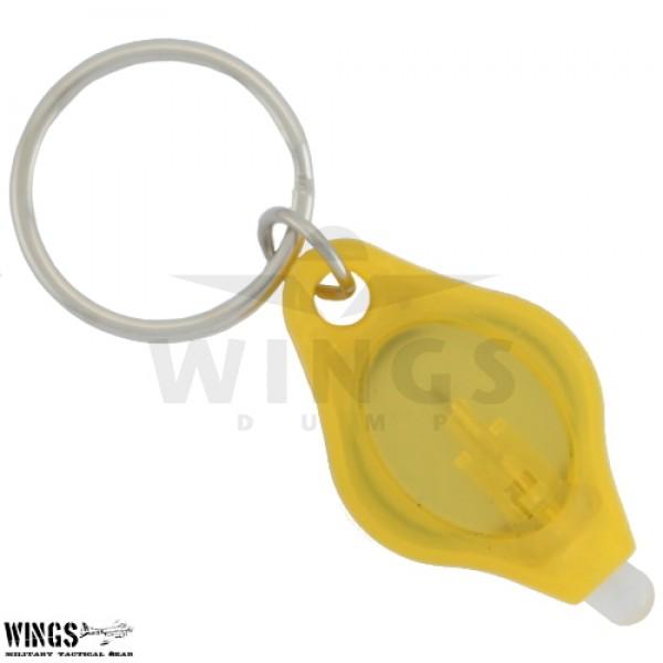 Sleutelhanger led zaklamp mini geel