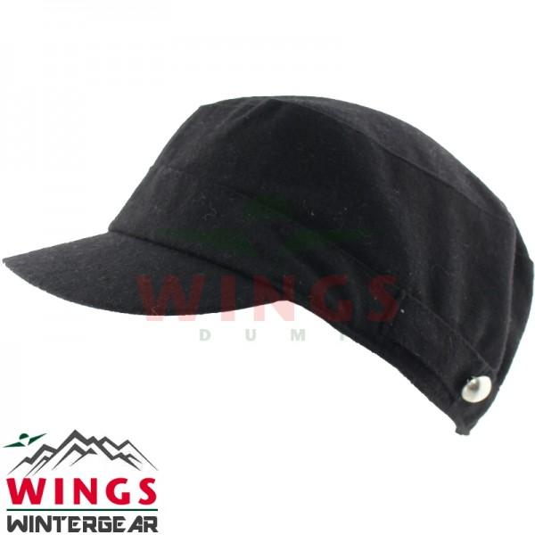 Woolfelt cap halfwol zwart