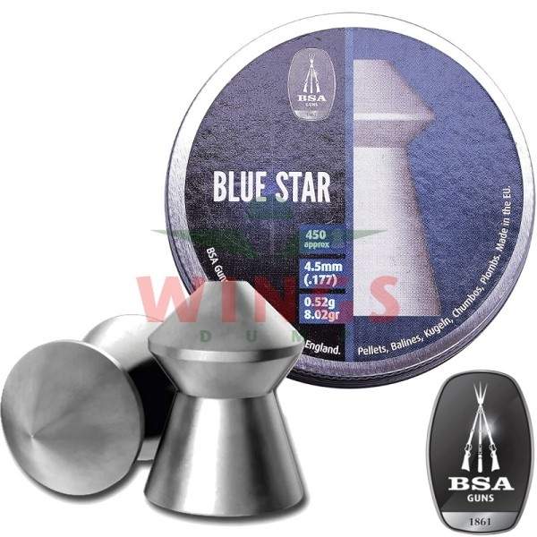 BSA Blue Star pointed pellets 4,5 m.m. 450 stuks