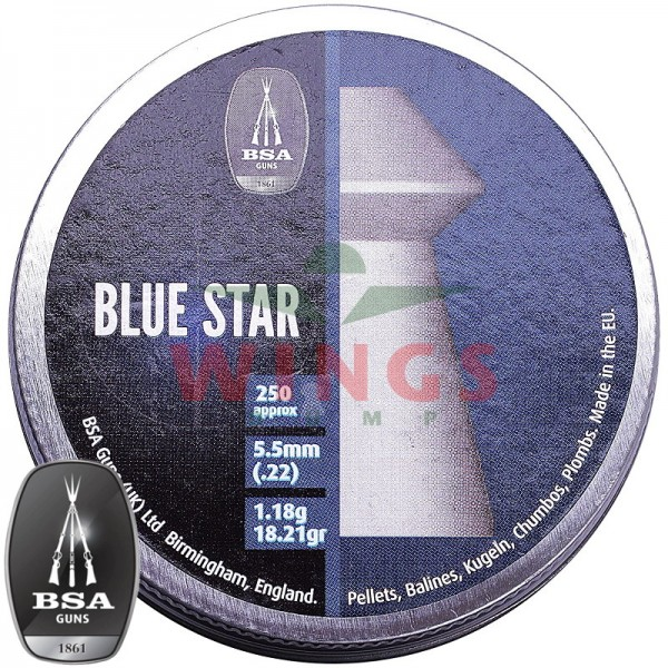 BSA Blue Star pointed pellets 5,5 m.m. 250 stuks