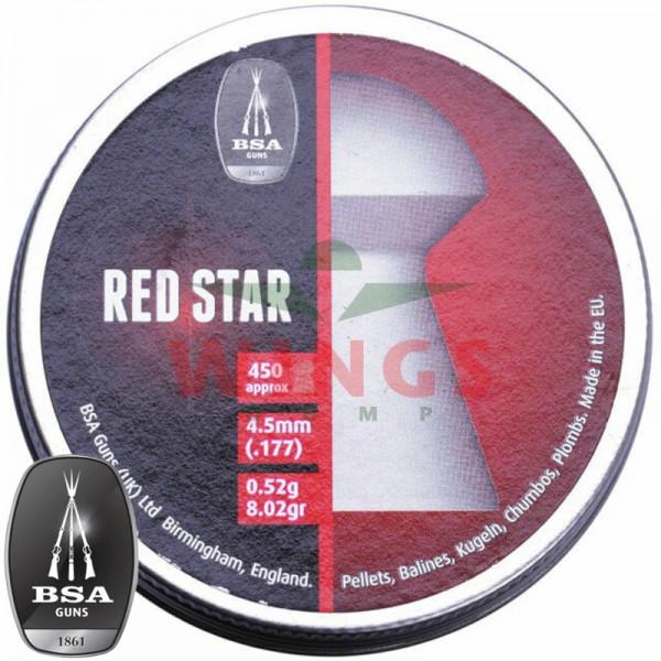 BSA Red Star domed pellets 4,5 m.m. 450 stuks