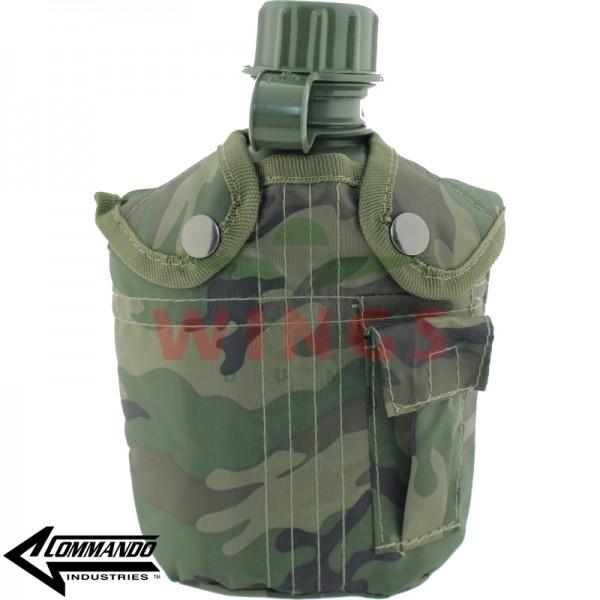 Veldfles Commando kunststof woodland camo