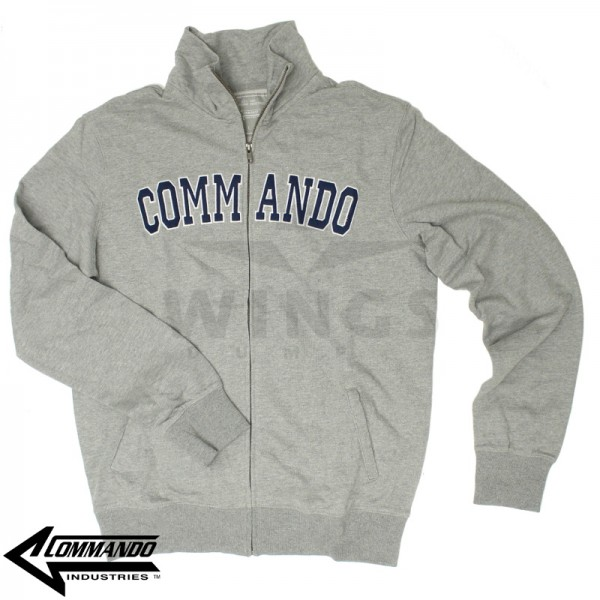 Commando zip sweatvest grijs