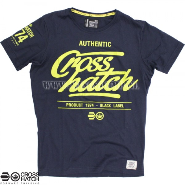 T-Shirt Crosshatch logo navy/yellow