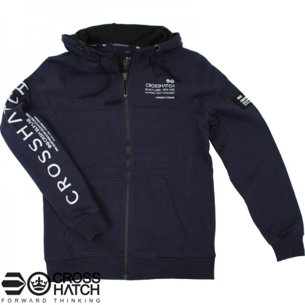 Crosshatch hooded zipvest blauw