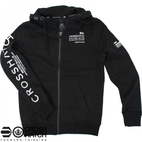 Crosshatch hooded zipvest zwart