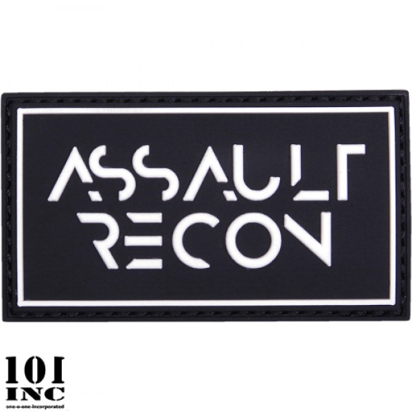 Embleem 3D pvc assault recon zwart-wit
