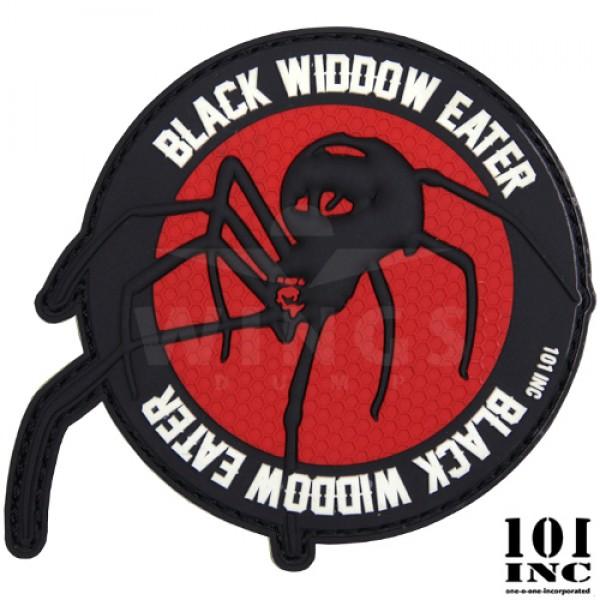 Embleem 3D pvc black widow eater zwart-rood