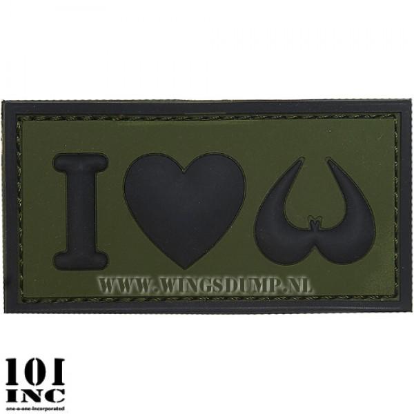Embleem 3D pvc I love boobies groen