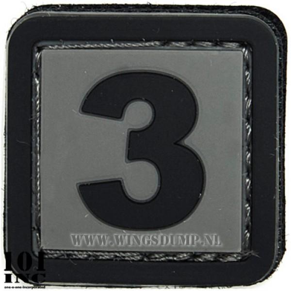 Embleem 3d pvc zwart grijs nr. 3