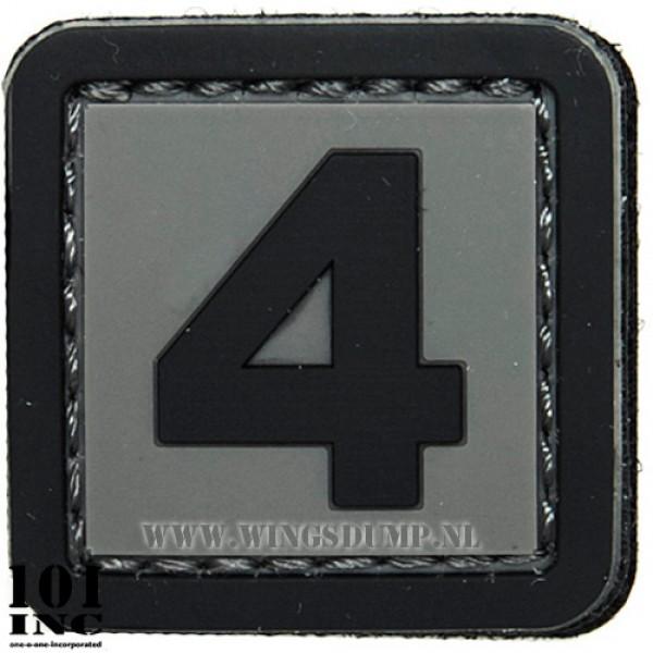 Embleem 3d pvc zwart grijs nr. 4