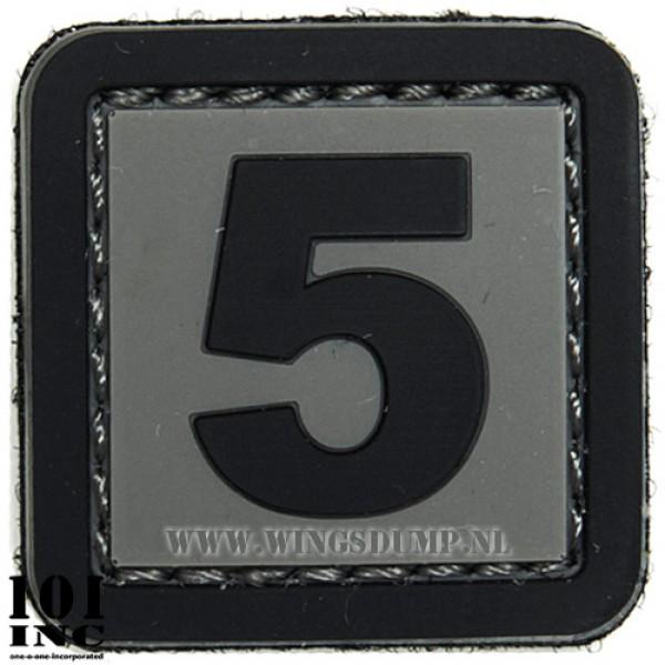 Embleem 3d pvc zwart grijs nr. 5