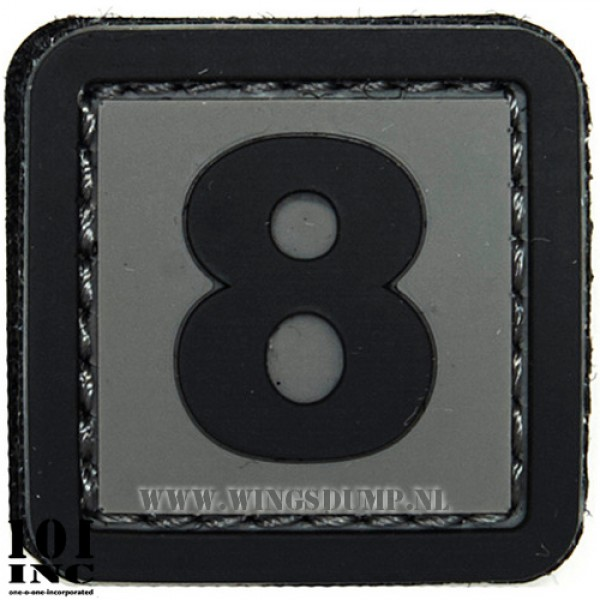 Embleem 3d pvc zwart grijs nr. 8