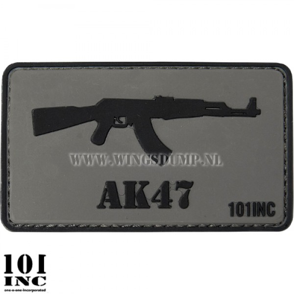 Embleem 3d pvc AK47 grijs