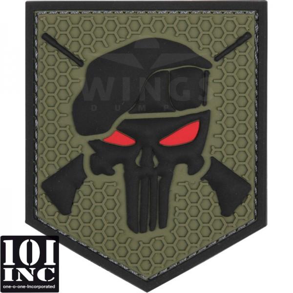 Embleem 3D pvc commando punisher groen
