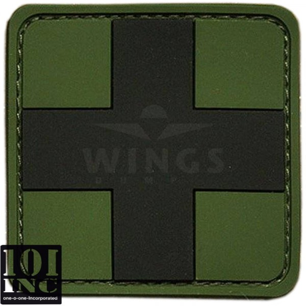 Embleem 3D pvc cross groen zwart
