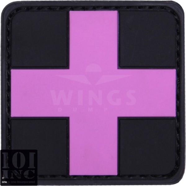 Embleem 3D pvc cross zwart roze