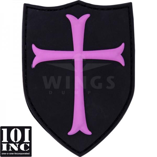 Embleem 3D pvc crusader zwart roze