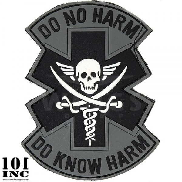 Embleem 3D pvc do no harm grijs