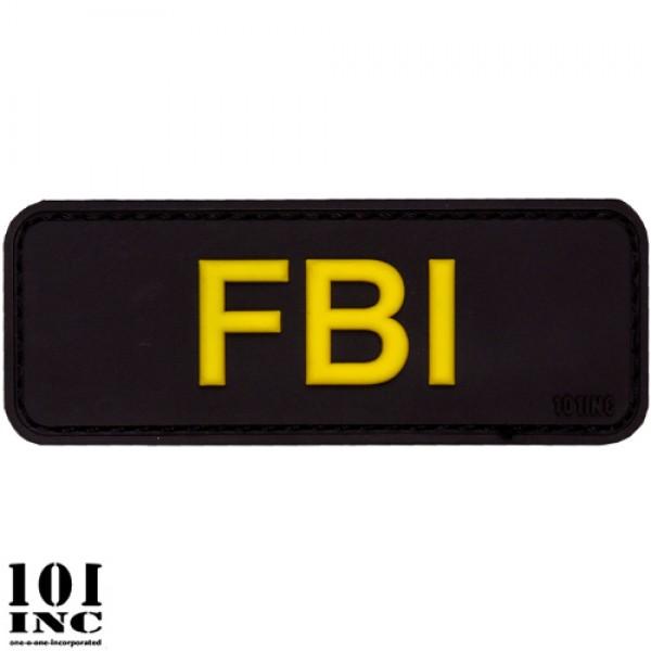 Embleem 3D pvc FBI zwart/geel