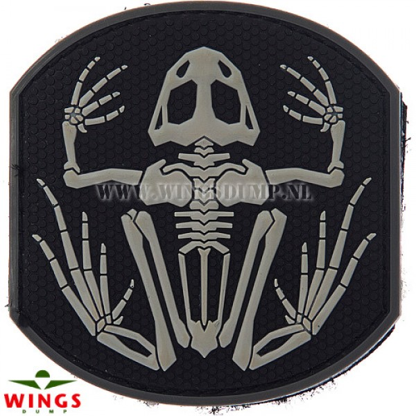 Embleem 3d pvc frog skeleton zwart
