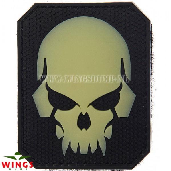 Embleem 3d pvc pirate skull white