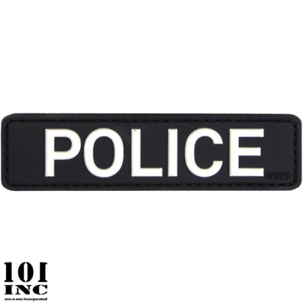 Embleem 3D pvc police zwart/wit