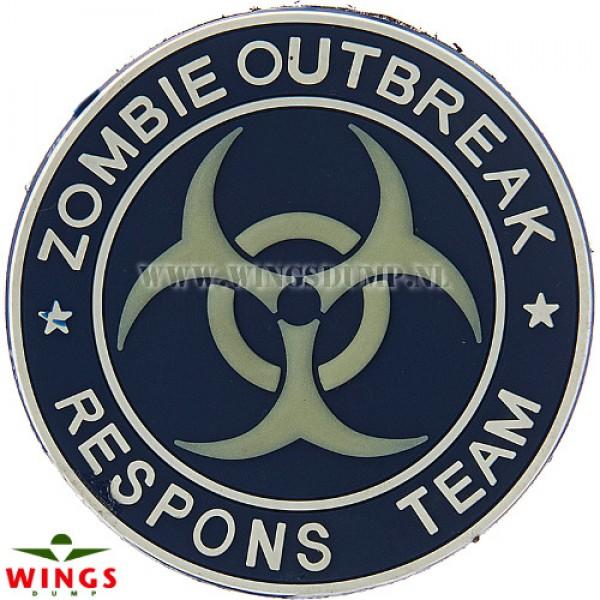 Embleem 3d pvc zombie outbreak blue
