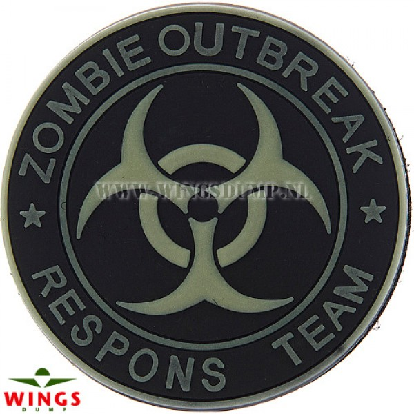 Embleem 3d pvc zombie outbreak zwart