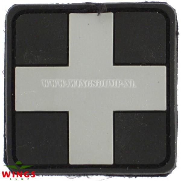 Embleem 3D pvc cross zwart grijs