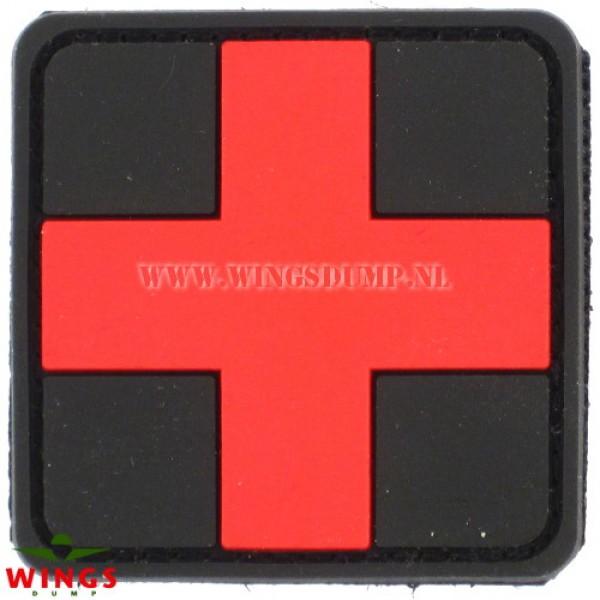 Embleem 3D pvc cross zwart rood
