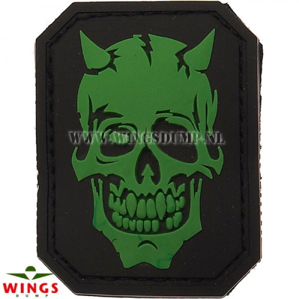 Embleem 3D pvc devil skull green