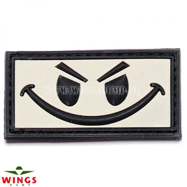 Embleem 3D pvc evil smiley wit