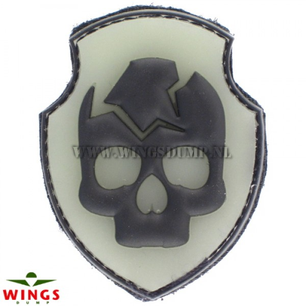 Embleem 3D pvc skullhead in schild
