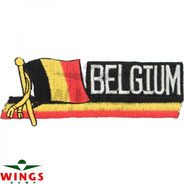 Embleem stof vlag met tekst Belgium