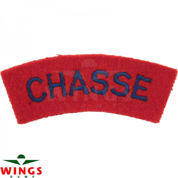 Embleem naamlint Chassé gebogen rood-blauw