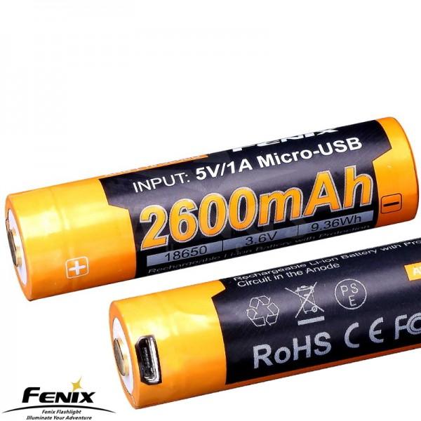 Fenix accu 18650 usb oplaadbaar 2.600 mAh