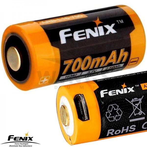 Fenix accu 16340 usb oplaadbaar 700 mAh