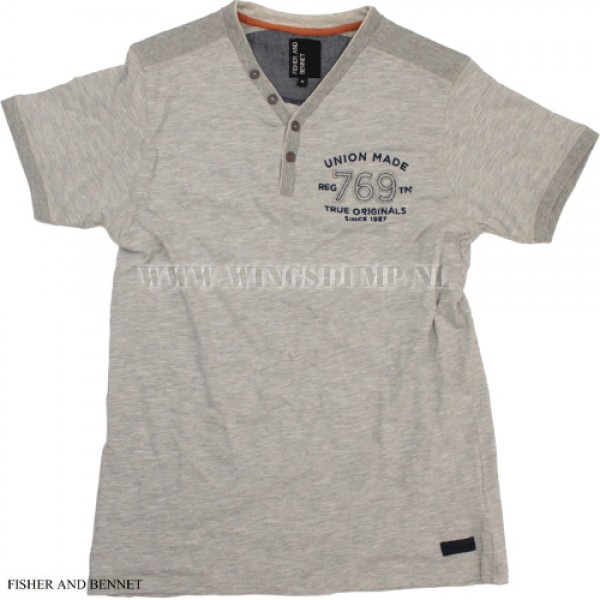 T-Shirt Fisher and Bennet V-neck grey
