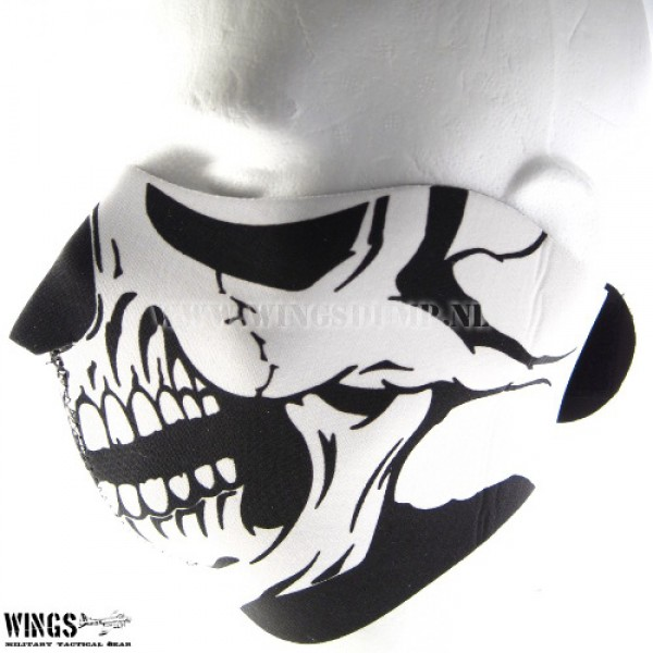 Bikermask half face skull black eyes
