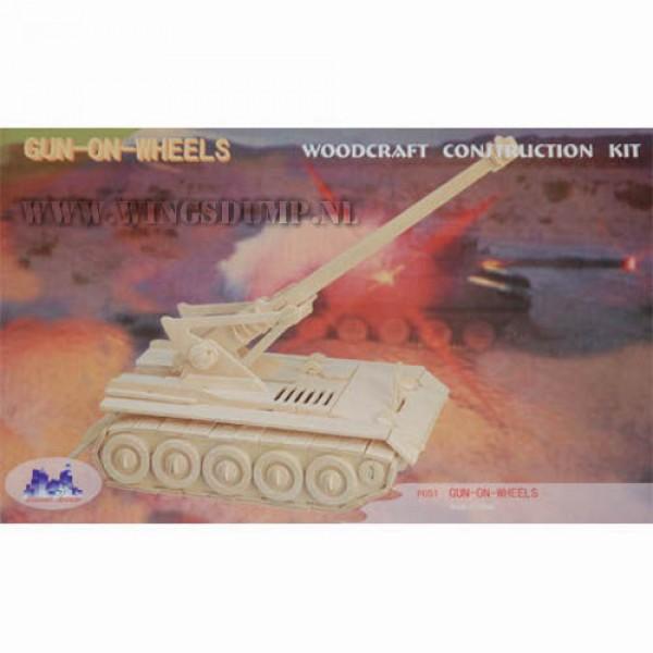 Houten bouwpakket Gun on Wheels