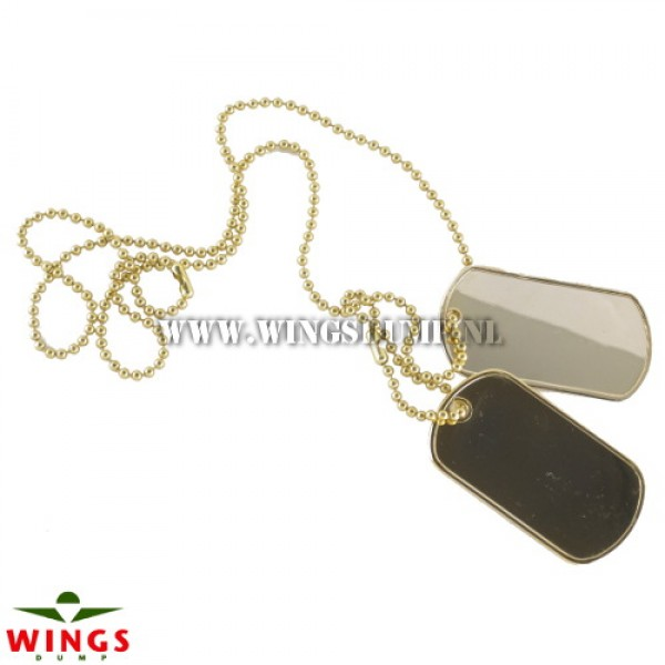 Dog tags ketting blanco goud