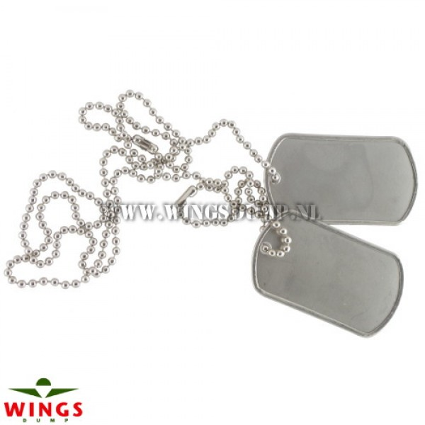 Dog tags ketting blanco zilver