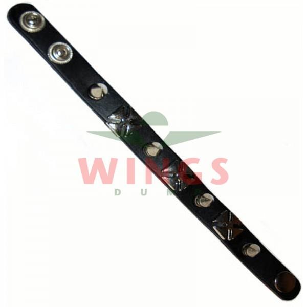 Armband leder crosses and pins