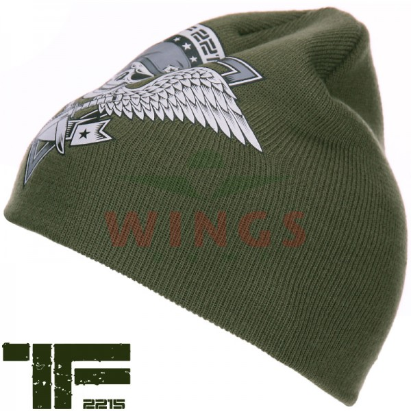 Beanie TF-2215 Skull and Wings groen