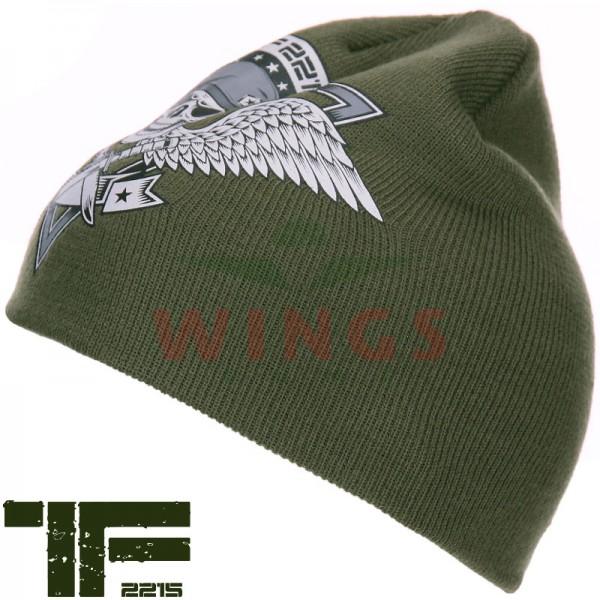 Beanie TF-2215 Skull and Wings groen