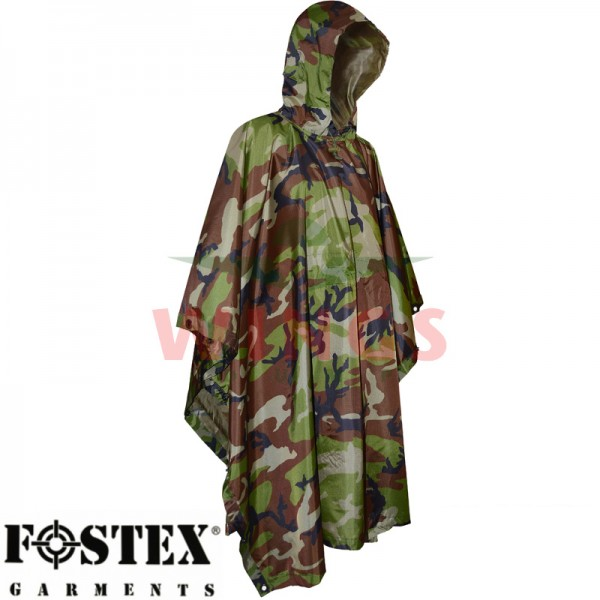 Poncho ripstop woodland camo