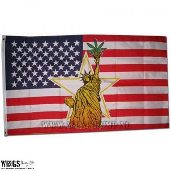 Vlag 150 x 100 cm. Amerika met vrijheidsbeeld